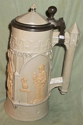 Antique/Vintage Estate Unique German ? Greek Theme Lidded Beer Stein marked WITH