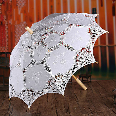 11.8'' White Lace Embroidered Parasol Umbrella Bridal Wedding Party Decoration