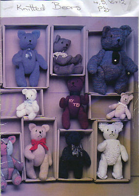 Teddy Bear pattern 22 x JOINTED Bears. PATTERN ONLY Knitted in 4.5.8 and 12 ply
