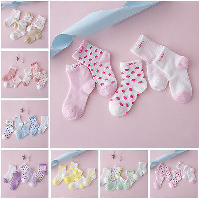 5 Pairs Baby Boy Girl Cotton Cartoon Socks Infant Toddler Kid Soft Socks Colors
