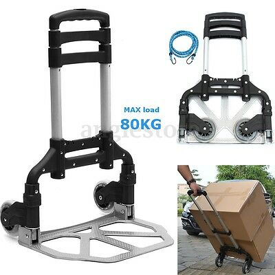 176LBS Cart Folding Dolly Push Truck Hand Collapsible Trolley Luggage Black US