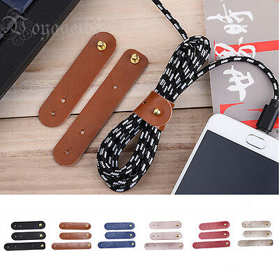 New Handmade Leather Cable Cord Winder Holder Tie For Earphone Cell phone 3Pcs