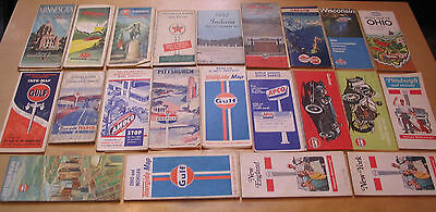 Lot of 22 Vintage Gas Station or Official State Road Maps 1940s-70s