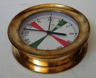 U.S. Navy BRASS Marine RADIO ROOM wall Clock - 100% SATISFACTION - ROMAN - LARGE