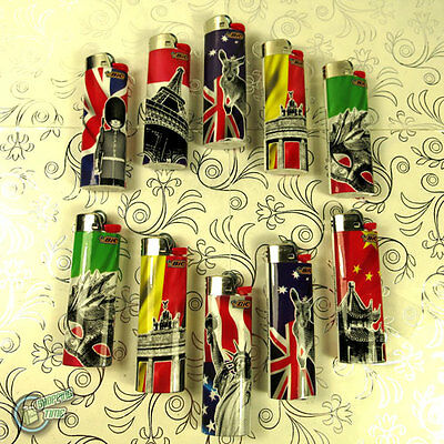 10 BIC Country LIGHTER Child Guard Cigarette Tobacco Maxi J26 Cigar Large AZ