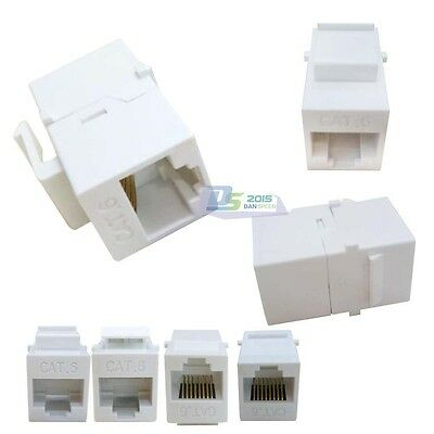 5PC RJ45 Cat6 Female to Female Network Keystone Wall Mounted Plate Adapters Jack