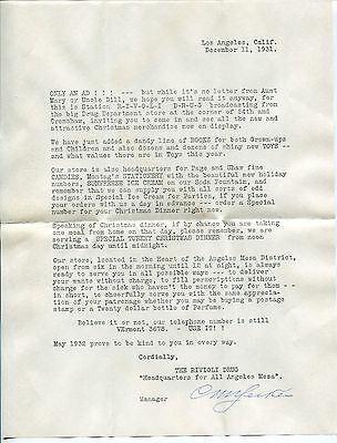 1931 L.A. Drug Store Promo Letter: Xmas Shopping, Soda Fountain, Radio Reference