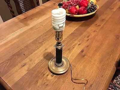 Antique Green Ribbed Glass Stem Lamp Footed bronze base