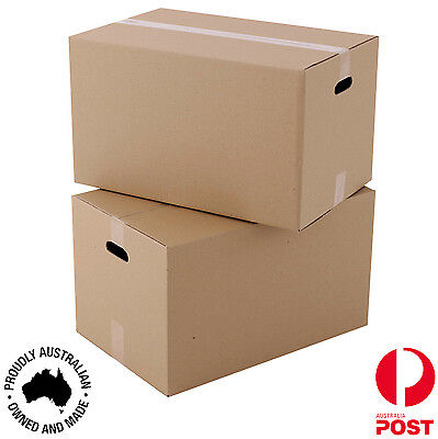 15 x Packing Moving Cardboard Boxes Cartons  570 x 370 x 330mm WITH HANDLES