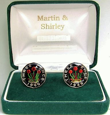 1946 Threepence cufflinks from real coins Black & Gold & Colours