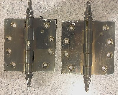 "1 Pair  Vintage 4"" Brass Plated Steeple Top Hinges"