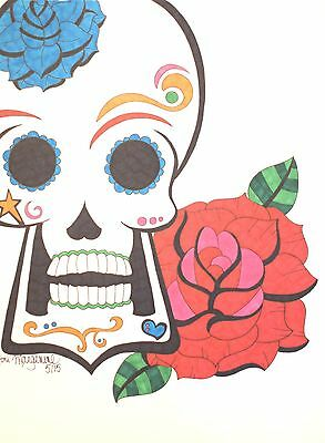 sugar skull with rose drawing day of the dead art 9x12 inches on
