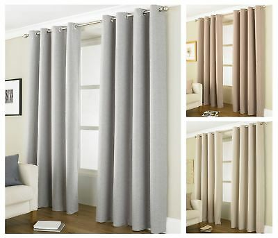 Linea Thermal Blackout Ready Made Curtain Pair Light Reducing Eyelet Curtains