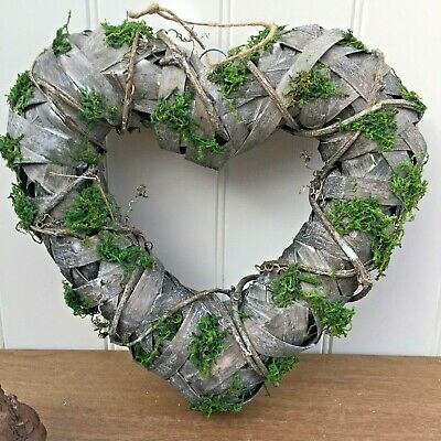 Grey Hanging Rustic Woven Wicker Chunky Heart Wreath with Moss Ready to Decorate
