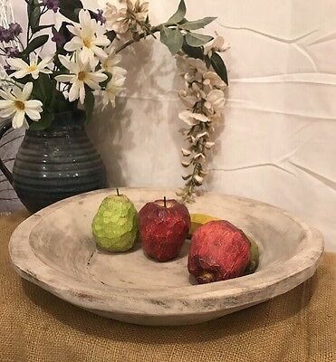 Primitive Rounded Hand Carved Large Wood Dough Bowl -Centerpiece- Antique White