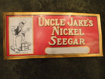 Uncle Jake's Nickel Seegar 1930's Cigar Original Advertising Label Vintage
