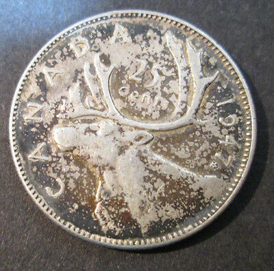 1947~~Canadian 25 Cents~~Silver~~Scarce~~Canada