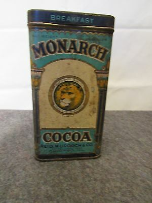 Vintage Tin Litho Monarch Cocoa  Tin Can Reid Murdock & Co
