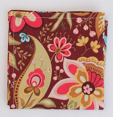 Hankie Pocket Square Handkerchief  RETRO FLORAL  - Premium Cotton - UK Made