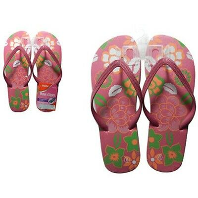 Lot of 12 Pairs Wholesale Women's Floral Print Flip Flops Sandals Flip Flop