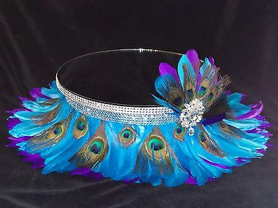 Peacock Feather & diamante wedding cake stand separator All sold separately
