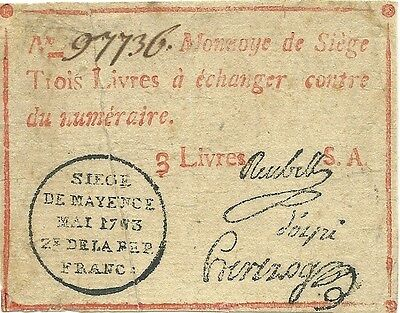 France Revolution ~ 1793 Siege Of Mainz 3 Livres Emergency Currency ~ Historic