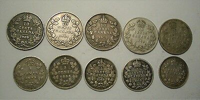 Collection Lot Canada Old Silver Coins(5 Cents,10 Cents)**1890 - 1931**10 Coins*