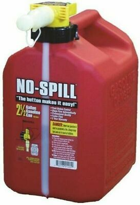 No-Spill 1405 Gas Can, 2.5 Gal, 13-1/2 In H, Plastic, Red