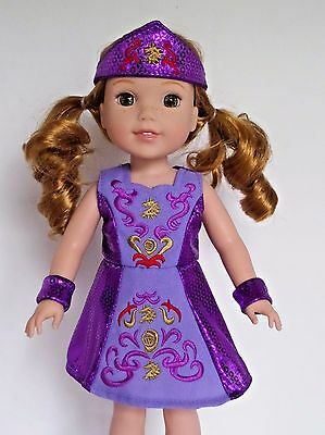 "Purple Irish Dance Dress Fits Wellie Wishers 14.5"" American Girl Clothes"
