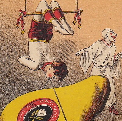 Circus Clown 1870's Trapeze Stilts Magnolia Ham Victorian Advertising Trade Card