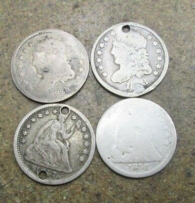 4 United States Silver Half Dime Coins in Poor Condition No Reserve