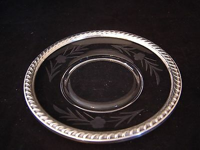Vintage La Pierre Sterling Silver And Etched Floral Crystal Small Plate