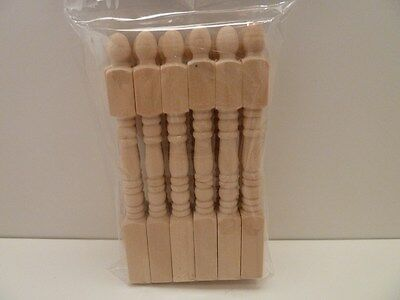 Dolls House Miniature 1:12th Scale 12 x Wooden Newel Posts For Stairs (C25)