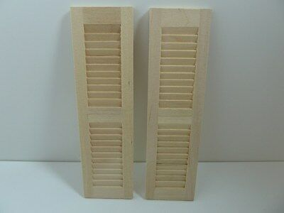 Dolls House Miniature 1:12th Scale Building Bare Wood Window 2 x Shutters