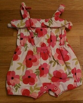 Gymboree 0-3 M baby girl flowered pink poppies romper summer mint nb one piece