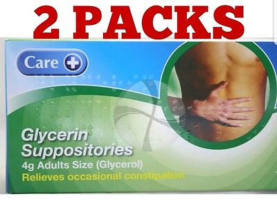 2 PACKS OF GLYCERIN SUPPOSITORIES 4g 12'S ADULT SIZE (24 SUPPOSITORIES IN TOTAL)