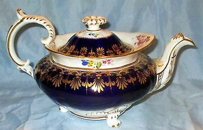 Antique Minton 1830 Ornate Porcelain Hand Painted Footed Teapot Cobalt Blue Gold