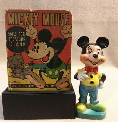 Mickey Mouse Mini Book with Mickey Mouse Ceramic Figure Vintage