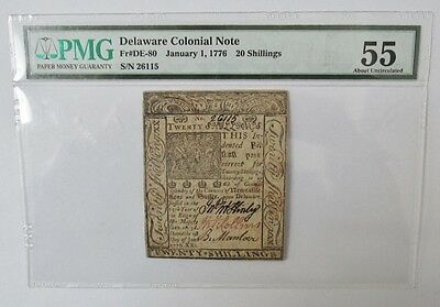 "Excellent Rare 20 Shilling""1776""delaware Colonial Note.pmg 55 About Uncirculated"