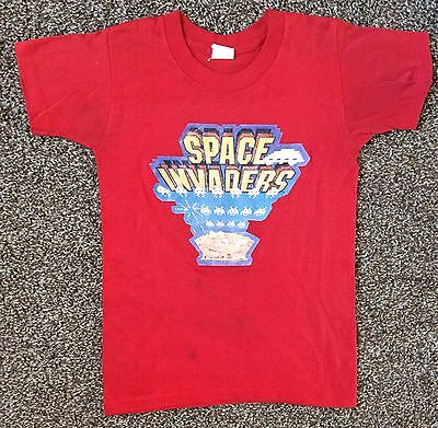 Vtg 1981 Space Invaders Iron-On T-Shirt Red Youth M 10-12 80s Classic Video Game