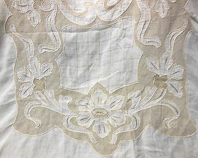 "VTG Madeira Embroidered Linen Art Nouveau Floral Tablecloth 108""+ 12 Napkins"