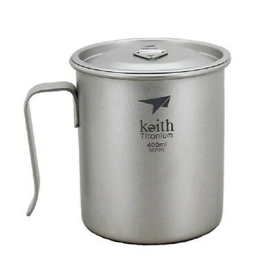 Keith Ti3263 Fixed Handle Titanium Cup Titanium Coffee Cup With Cover 400ML