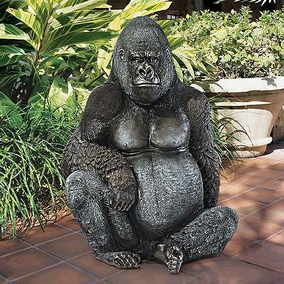 Gorilla Great Ape Statue African Primate Wild Animal Garden Sculpture Art Decor