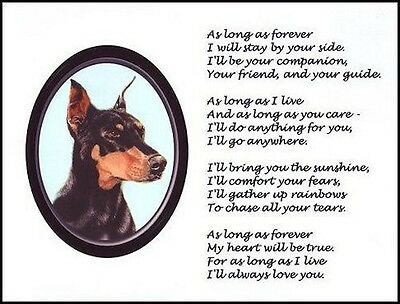 "Beautiful DOBERMAN PINSCHER print ""AS LONG AS FOREVER.."" pet poem verse dog NEW!"