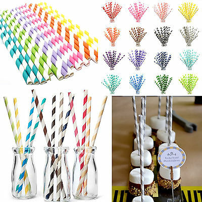25pcs Paper Drinking Straws Striped Straws for Wedding Birthday Party Decoration
