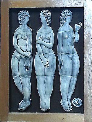 The Three Graces Italian Style framed ceramic Sculpture / wall plaque 61 cm 1996