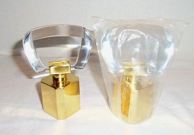 "Pair Of Rare Vintage Areslux ""crystal"" Polished Brass Faucet Handles"