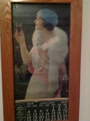 Vintage Coca Cola Calender1925 Original Framed w/Glass Great Condition
