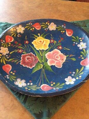 Large Hand Painted Folk Art  Vintage Red Blue Wood Tole Tray Bowl