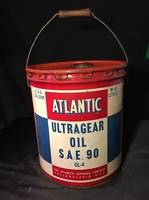vintage atlantic oil can, Atlantic Ultragear Oil SAE 90, 5 gallon, USA